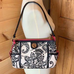 Spartina Black & Cream Linen Shoulder Bag